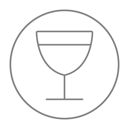Glass of wine line icon for web, mobile and infographics. Vector grey thin line icon in the circle isolated on white background.