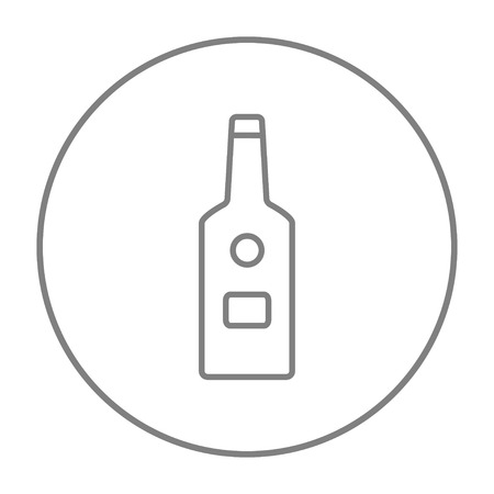 scotch whisky: Glass bottle line icon for web, mobile and infographics. Vector grey thin line icon in the circle isolated on white background.