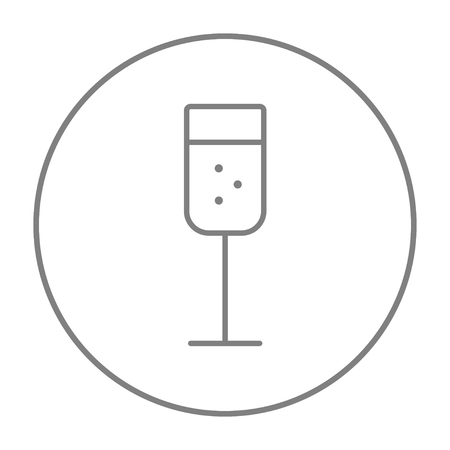 Glass of champagne line icon for web, mobile and infographics. Vector grey thin line icon in the circle isolated on white background.