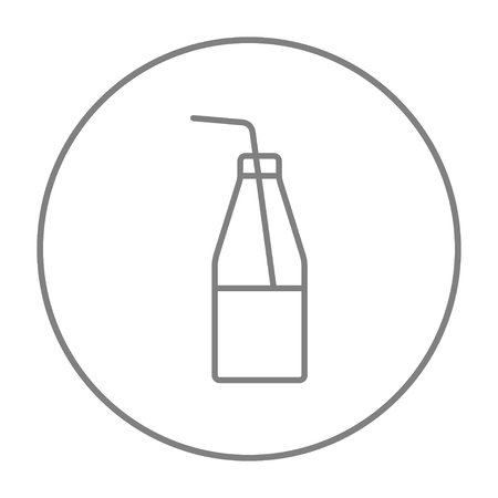 glass half full: Glass bottle with drinking straw line icon for web, mobile and infographics. Vector grey thin line icon in the circle isolated on white background.
