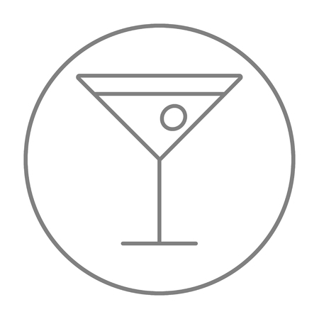 Cocktail glass line icon for web, mobile and infographics. Vector grey thin line icon in the circle isolated on white background.