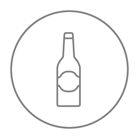 Glass bottle line icon for web, mobile and infographics. Vector grey thin line icon in the circle isolated on white background. 版權商用圖片 - 51389688