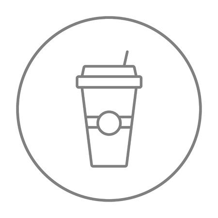 vaso desechable con el icono de la línea pajita para web, móvil y la infografía. gris del vector icono de línea fina en el círculo aislado en el fondo blanco.