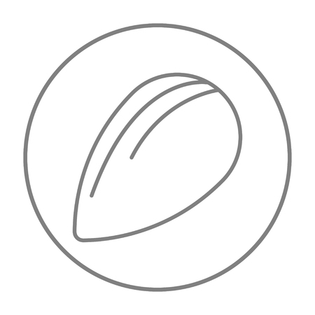Almond line icon for web, mobile and infographics. Vector grey thin line icon in the circle isolated on white background.