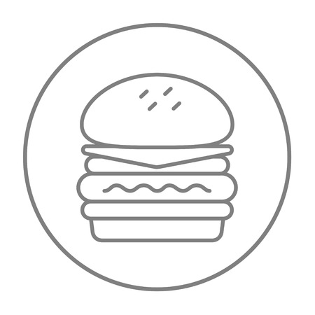 Double burger line icon for web, mobile and infographics. Vector grey thin line icon in the circle isolated on white background.