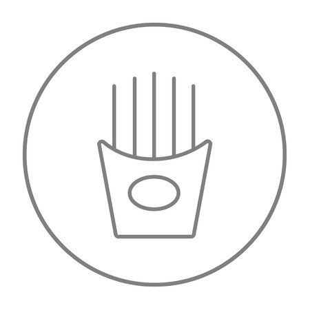 French fries line icon for web, mobile and infographics. Vector grey thin line icon in the circle isolated on white background. Illustration