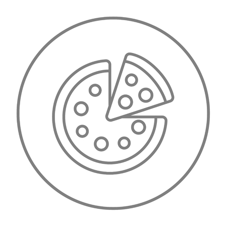 Whole pizza with a slice line icon for web, mobile and infographics. Vector grey thin line icon in the circle isolated on white background.