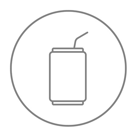 tonic: Soda can with drinking straw line icon for web, mobile and infographics. Vector grey thin line icon in the circle isolated on white background.