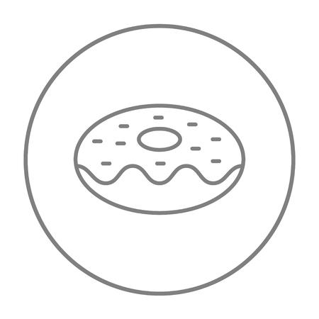 Web、モバイル、インフォ グラフィックのドーナツ ライン アイコン。白い背景で隔離サークルのベクトル灰色細い線アイコン。  イラスト・ベクター素材