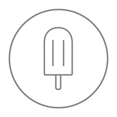Popsicle line icon for web, mobile and infographics. Vector grey thin line icon in the circle isolated on white background. Ilustração