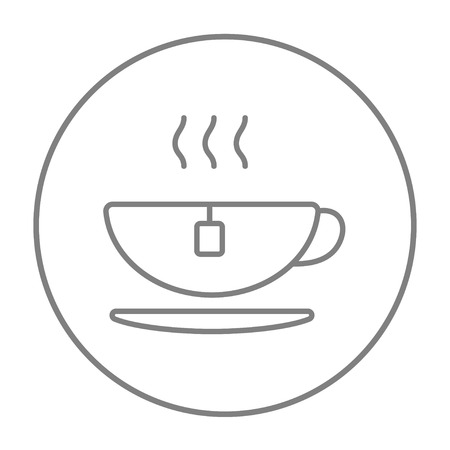 full time: Hot tea in a cup line icon for web, mobile and infographics. Vector grey thin line icon in the circle isolated on white background.