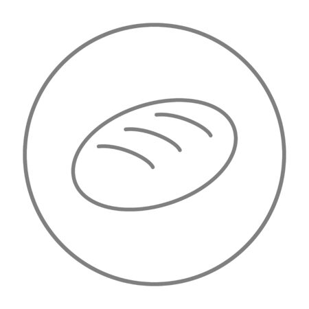 Loaf line icon for web, mobile and infographics. Vector grey thin line icon in the circle isolated on white background.