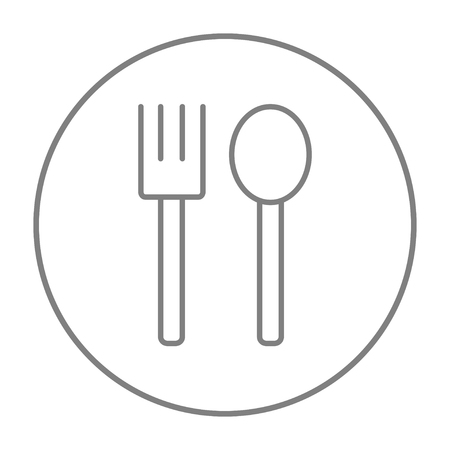 meat chopper: Spoon and fork line icon for web, mobile and infographics. Vector grey thin line icon in the circle isolated on white background.