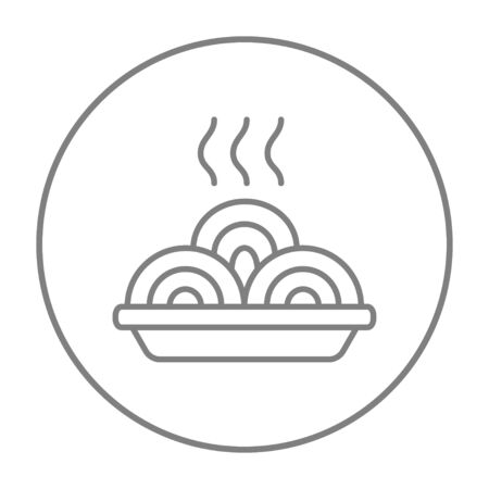 hot plate: Hot meal in plate line icon for web, mobile and infographics. Vector grey thin line icon in the circle isolated on white background.