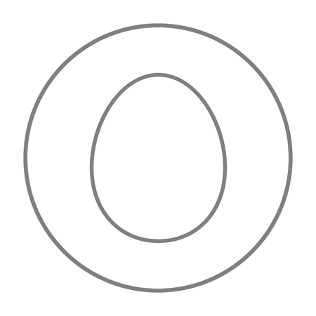 Egg line icon for web, mobile and infographics. Vector grey thin line icon in the circle isolated on white background.