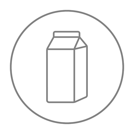 packaged: Packaged dairy product line icon for web, mobile and infographics. Vector grey thin line icon in the circle isolated on white background. Illustration