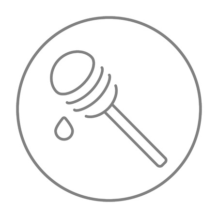 dipper: Honey dipper line icon for web, mobile and infographics. Vector grey thin line icon in the circle isolated on white background.