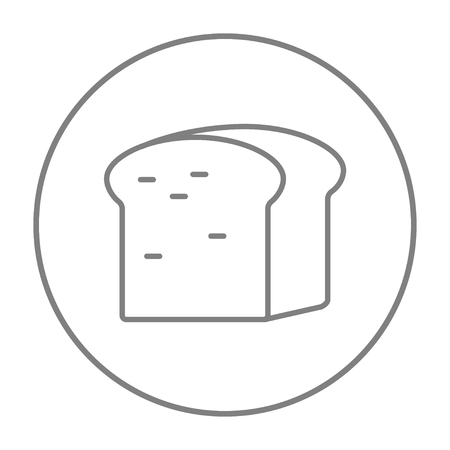 wholemeal: Half of bread line icon for web, mobile and infographics. Vector grey thin line icon in the circle isolated on white background.