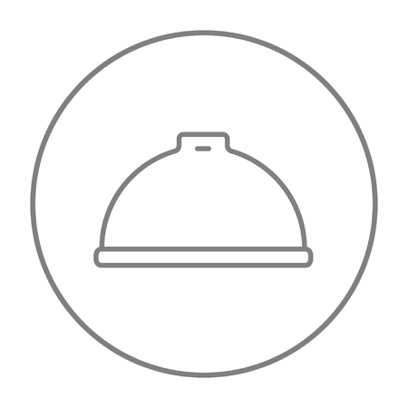 Restaurant cloche line icon for web, mobile and infographics. Vector grey thin line icon in the circle isolated on white background. Stock Illustratie