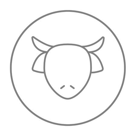 牛の頭は、web、モバイルのアイコンとインフォ グラフィックをラインします。白い背景で隔離サークルのベクトル灰色細い線アイコン。  イラスト・ベクター素材