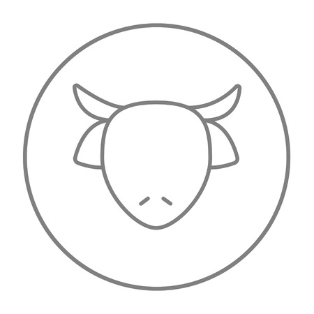 ungulate: Cow head line icon for web, mobile and infographics. Vector grey thin line icon in the circle isolated on white background. Illustration
