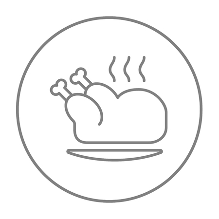 whole chicken: Baked whole chicken line icon for web, mobile and infographics. Vector grey thin line icon in the circle isolated on white background.