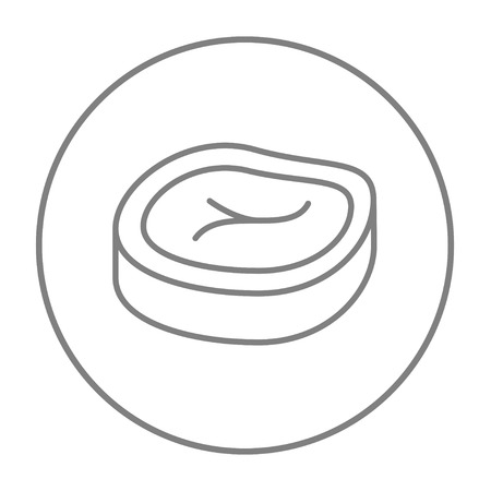 Steak line icon for web, mobile and infographics. Vector grey thin line icon in the circle isolated on white background. Stock Illustratie