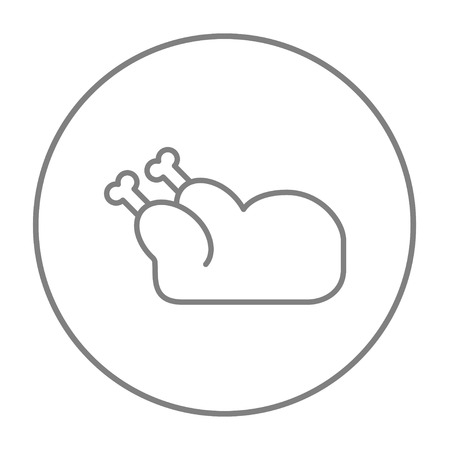 raw chicken: Raw chicken line icon for web, mobile and infographics. Vector grey thin line icon in the circle isolated on white background.
