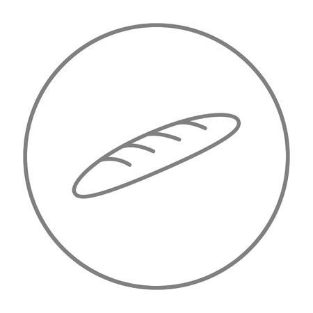 Web、モバイル、インフォ グラフィックのバゲット ライン アイコン。白い背景で隔離サークルのベクトル灰色細い線アイコン。