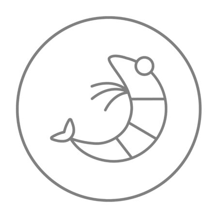 Shrimp line icon for web, mobile and infographics. Vector grey thin line icon in the circle isolated on white background.