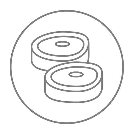 Web、モバイル、インフォ グラフィックのステーキ ライン アイコン。白い背景で隔離サークルのベクトル灰色細い線アイコン。