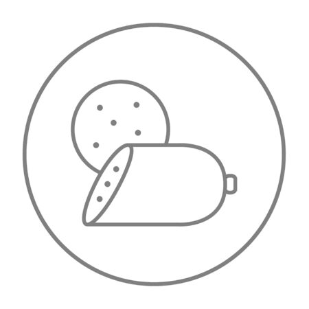wurst: Sliced wurst line icon for web, mobile and infographics. Vector grey thin line icon in the circle isolated on white background. Illustration