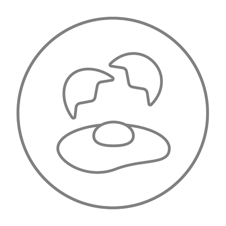 Broken egg and shells line icon for web, mobile and infographics. Vector grey thin line icon in the circle isolated on white background.
