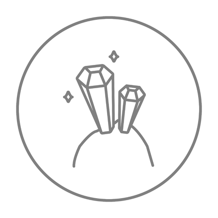 crystallization: Gemstones line icon for web, mobile and infographics. Vector grey thin line icon in the circle isolated on white background.