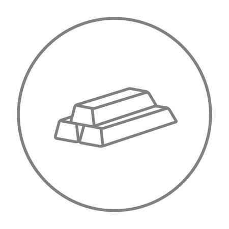 Icône de ligne de lignes d'or pour le Web, le mobile et l'infographie. Vector l'icône de ligne mince gris dans le cercle isolé sur fond blanc.