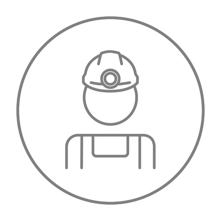 coal miner: Coal miner line icon for web, mobile and infographics. Vector grey thin line icon in the circle isolated on white background.