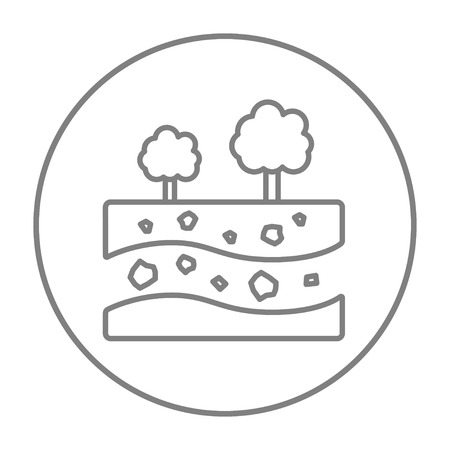 Cut of soil with different layers and trees on top line icon for web, mobile and infographics. Vector grey thin line icon in the circle isolated on white background. Illustration