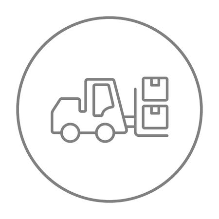 フォーク リフトの配送ボックス ライン web、モバイルのアイコンとインフォ グラフィック。白い背景で隔離サークルのベクトル灰色細い線アイコン