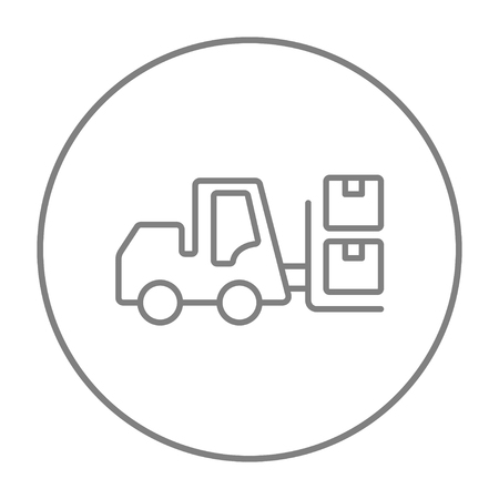 picking up: Forklift shipping boxes line icon for web, mobile and infographics. Vector grey thin line icon in the circle isolated on white background.