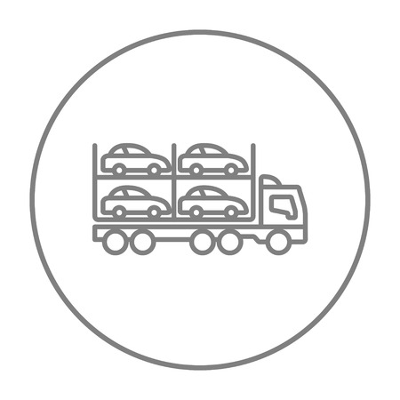 Car carrier line icon for web, mobile and infographics. Vector grey thin line icon in the circle isolated on white background.