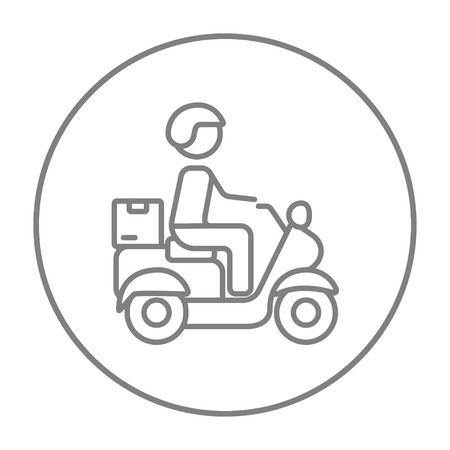 food industry: Man carrying goods on bike line icon for web, mobile and infographics. Vector grey thin line icon in the circle isolated on white background.