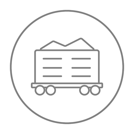 hand rails: Cargo wagon line icon for web, mobile and infographics. Vector grey thin line icon in the circle isolated on white background.