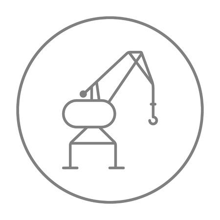 Havenkraan lijn pictogram voor web, mobiel en infographics. Vector grijze dunne lijn pictogram in de cirkel op een witte achtergrond.