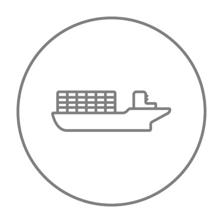 navy pier: Cargo container ship line icon for web, mobile and infographics. Vector grey thin line icon in the circle isolated on white background.