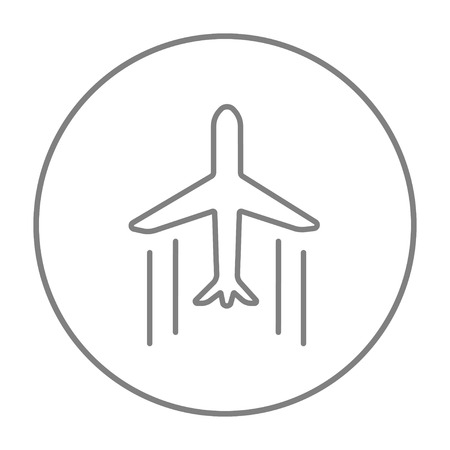 Cargo plane line icon for web, mobile and infographics. Vector grey thin line icon in the circle isolated on white background.