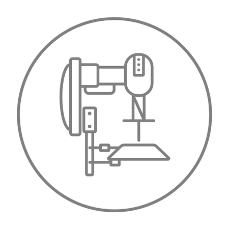 automated: Industrial automated robot line icon for web, mobile and infographics. Vector grey thin line icon in the circle isolated on white background.