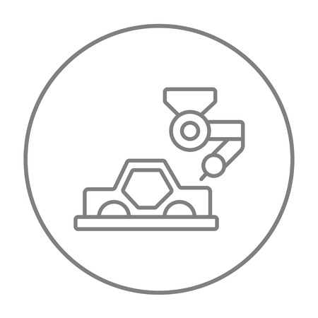 assembly line: Automated assembly line for cars line icon for web, mobile and infographics. Vector grey thin line icon in the circle isolated on white background.