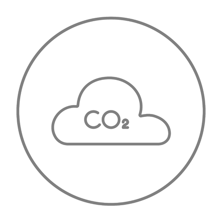 caution chemistry: CO2 sign in cloud line icon for web, mobile and infographics. Vector grey thin line icon in the circle isolated on white background.