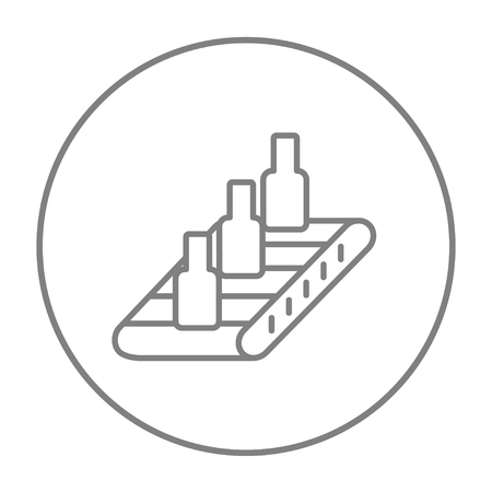 conveyor system: Bottles on conveyor belt system line icon for web, mobile and infographics. Vector grey thin line icon in the circle isolated on white background. Illustration