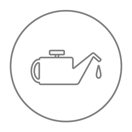 Web、モバイル、インフォ グラフィックの給油ライン アイコン。白い背景で隔離サークルのベクトル灰色細い線アイコン。